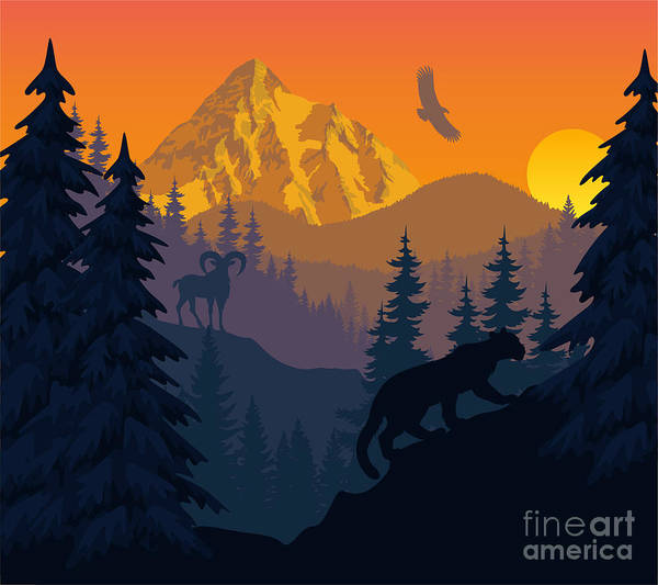 Wall Art - Digital Art - Vector Mountains Evening Landscape With by Savejungle