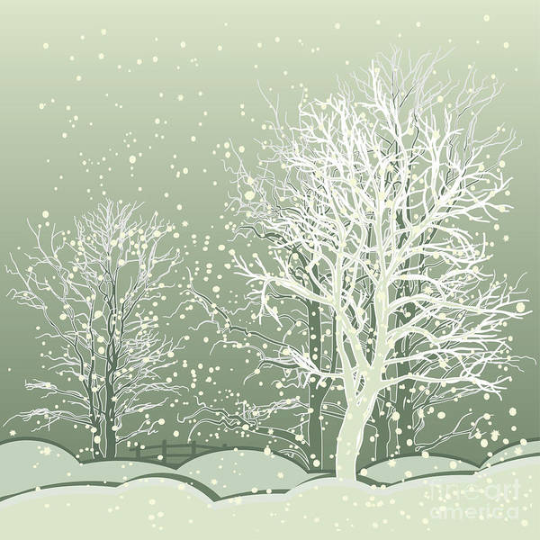 Flakes Wall Art - Digital Art - Vector Of Winter Scene With Forest by Bstr-1