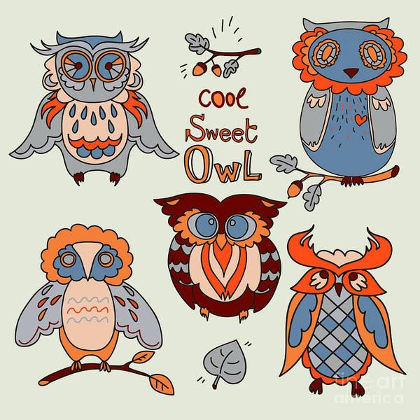 Cheerful Wall Art - Digital Art - Vector Owl Set by Happy fox art