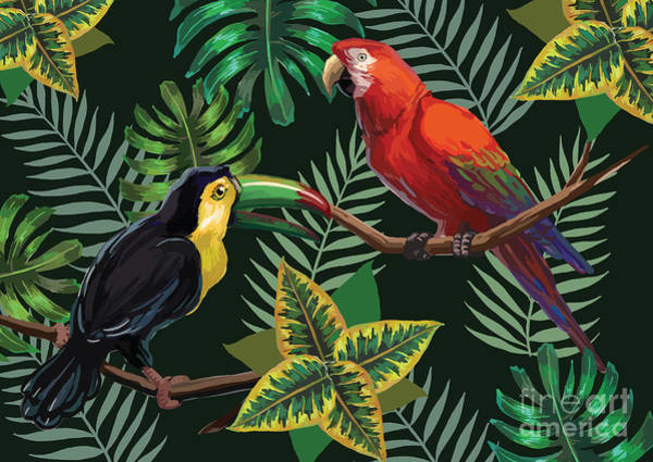 Wall Art - Digital Art - Vector Painting With Tropical Birds And by Julial