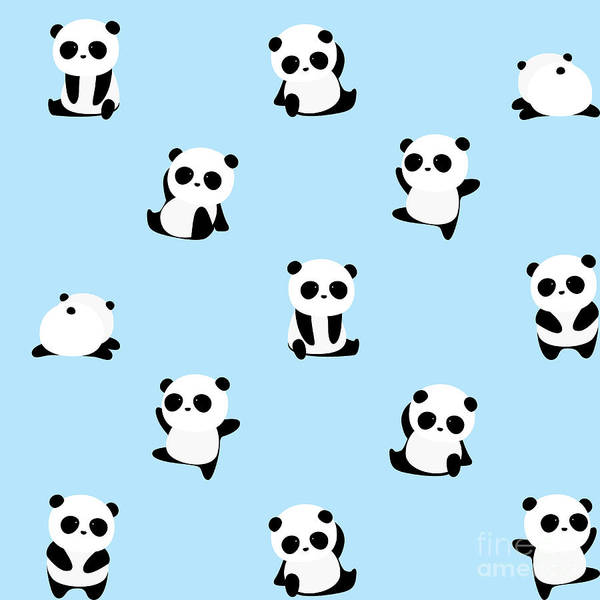 Wall Art - Digital Art - Vector Pattern Panda Bear Pattern On by Junxu Lu