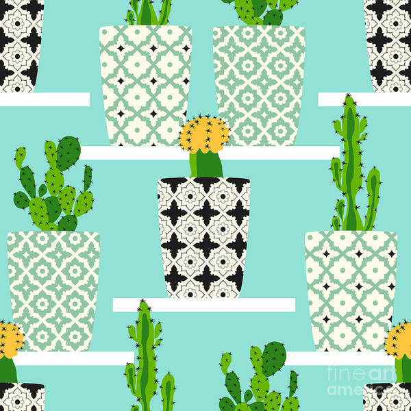 Wall Art - Digital Art - Vector Pattern With Cacti. Cute Cactus by Lilalove