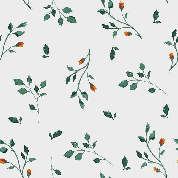 Wall Art - Digital Art - Vector Pattern With Flowers And Plants by Olga Alekseenko