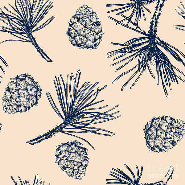 Engraved Digital Art - Vector Pinecone Pattern Seamless, Hand by Zverkova