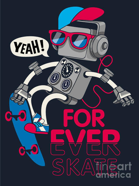 Wall Art - Digital Art - Vector Retro Robot On Skateboard, Skater by Braingraph