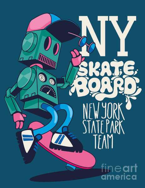 Wall Art - Photograph - Vector Retro Robot, Skateboard, Skater by Braingraph