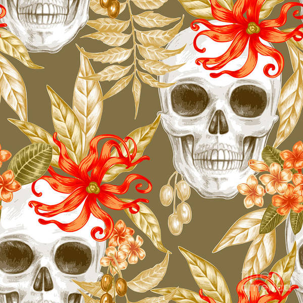 Wall Art - Digital Art - Vector Seamless Background. Exotic by Mamita