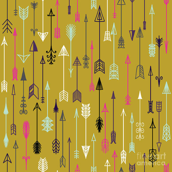 Landmark Wall Art - Digital Art - Vector Seamless Colorful Ethnic Pattern by Kollibri