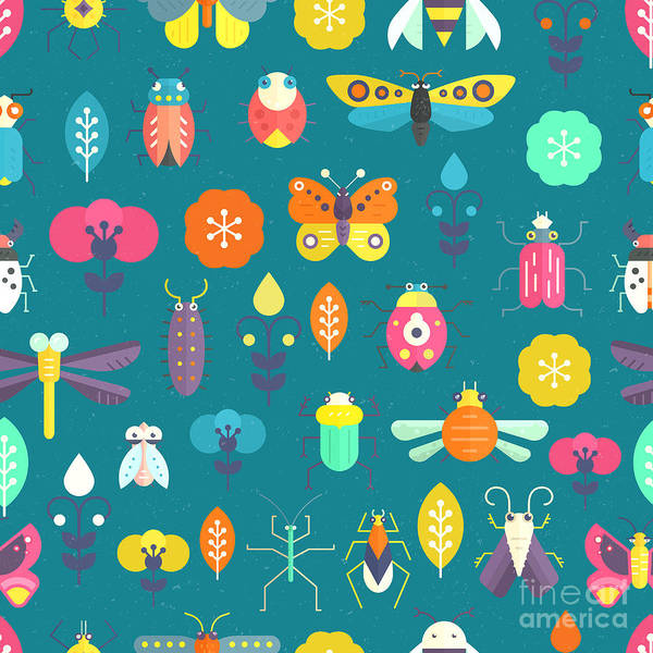 Zoology Wall Art - Digital Art - Vector Seamless Geometric Pattern With by Olga Zakharova