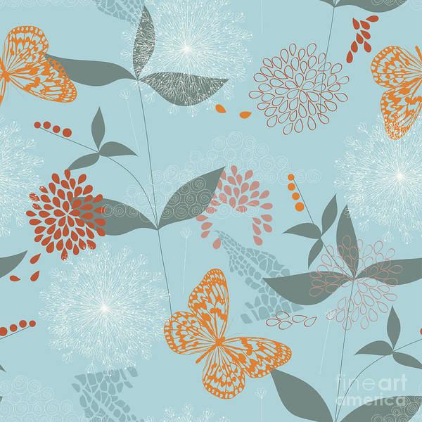 White Butterfly Digital Art - Vector Seamless Pattern Of Flowers by Kitigan