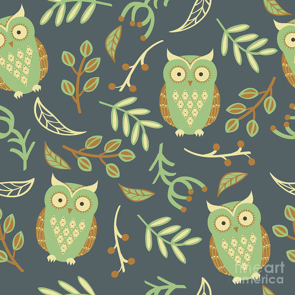 Wall Art - Digital Art - Vector Seamless Pattern With Cute Owls by Eireen Z