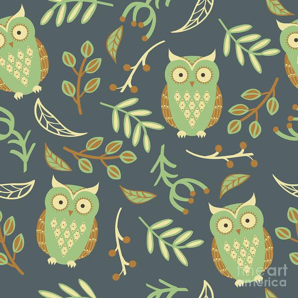 Wall Art - Digital Art - Vector Seamless Pattern With Cute Owls by Eireen Z