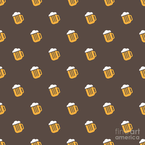 Wall Art - Digital Art - Vector Simple Bright Beer Mug Seamless by Anastacia Trapeznikova