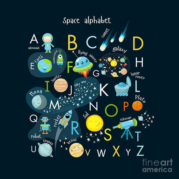 Astronaut Digital Art - Vector Space Alphabet by Olga Utchenko