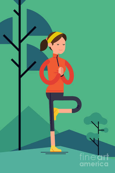 Fitness Digital Art - Vector Sport Young Woman Character by Mascha Tace