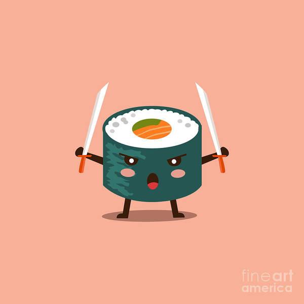 Wall Art - Digital Art - Vector Sushi Cartoon Character by Apple Art
