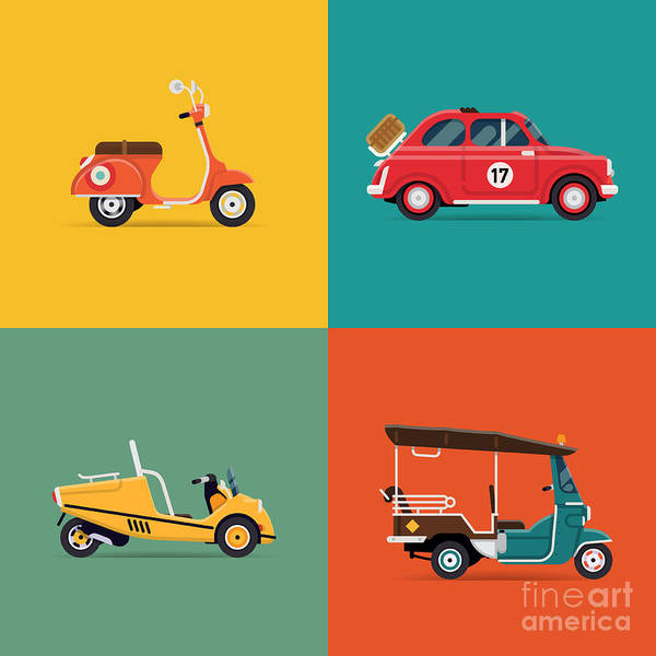 Wall Art - Digital Art - Vector Trendy Flat Design Icons On by Mascha Tace