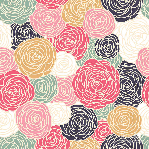 Shabby Wall Art - Digital Art - Vector Vintage Inspired Seamless Floral by Fleur Paper Co