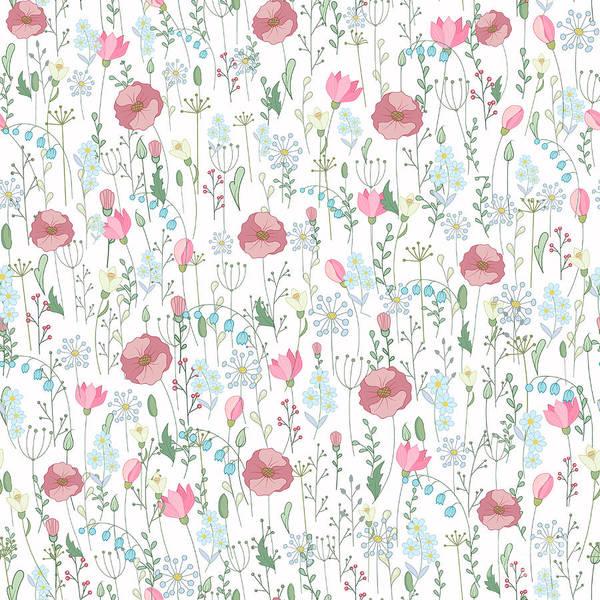Wall Art - Digital Art - Vector Vintage Seamless Floral Pattern by Andriy Lipkan