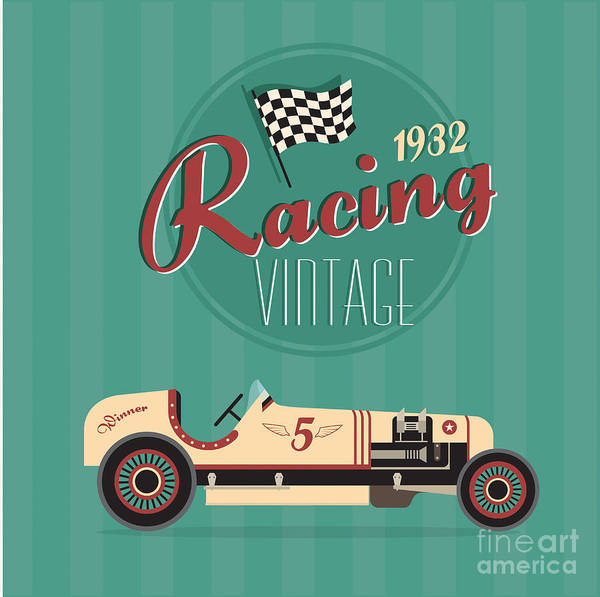 Steering Wheel Wall Art - Digital Art - Vector Vintage Sport Racing Car by Vector Pro