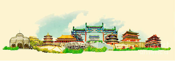 Wall Art - Digital Art - Vector Watercolor Beijing City by Trentemoller