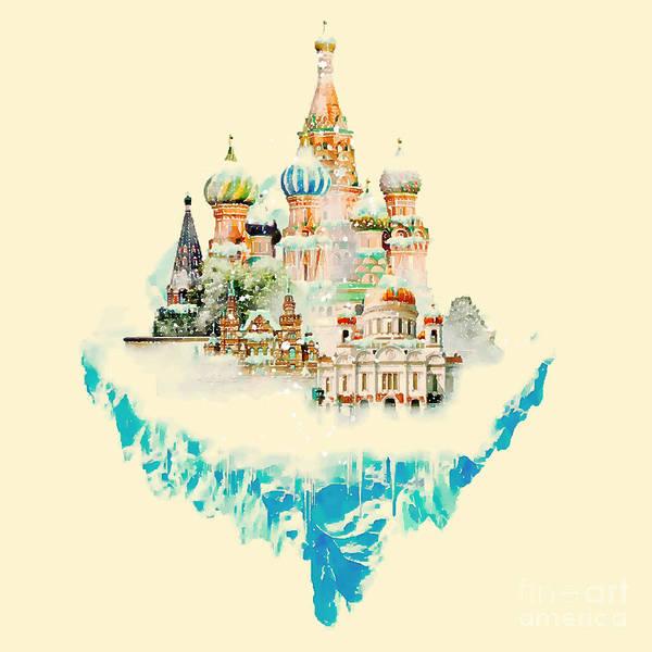 Wide Wall Art - Digital Art - Vector Watercolor Moscow City by Trentemoller