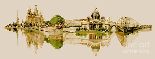 Panoramic Digital Art - Vector Watercolor Panoramic Saint by Trentemoller