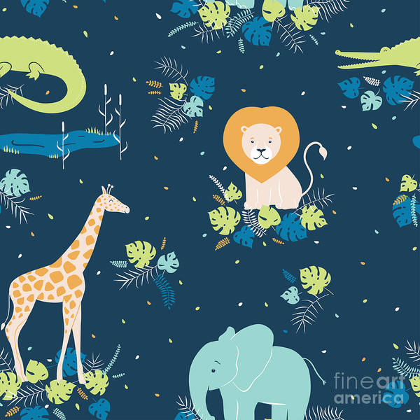 Baby Lions Wall Art - Digital Art - Vector Wildlife Seamless Pattern With by Inna Moreva