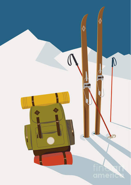 Hiking Wall Art - Digital Art - Vector Winter Themed Template With by Mascha Tace