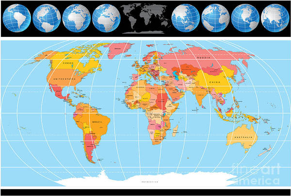 Geography Wall Art - Digital Art - Vector World Map With Globes by Pilart