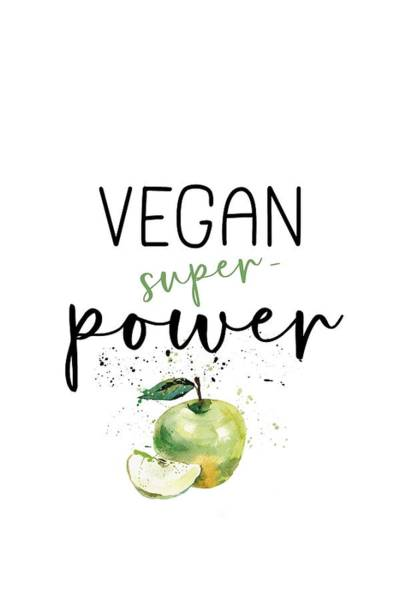 Vegetarian Digital Art - Vegan Superpower Apple by Melanie Viola