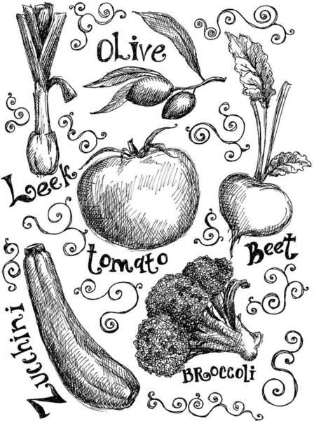 Pencil Drawing Digital Art - Vegetables by Kalistratova