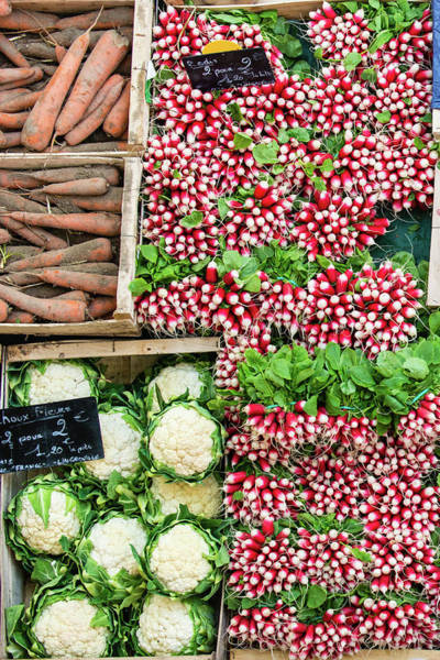 Retail Photograph - Vegetables - Radish Carrots Cauliflower by A J Withey
