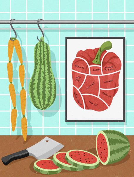 Wall Art - Photograph - Vegetarian Food Hanging Like Butchers by Ikon Images