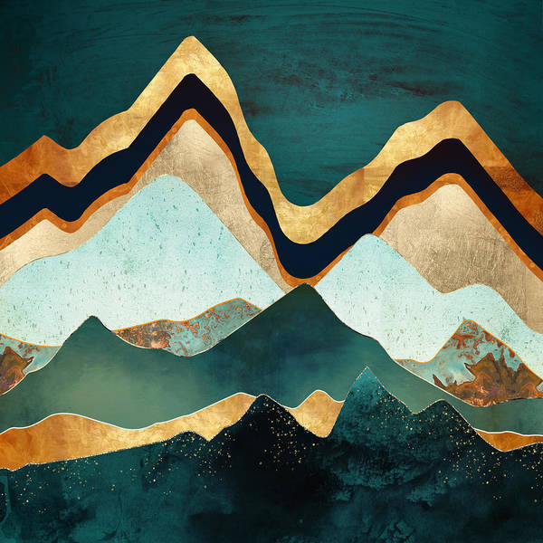 Wall Art - Digital Art - Velvet Copper Mountians by Spacefrog Designs