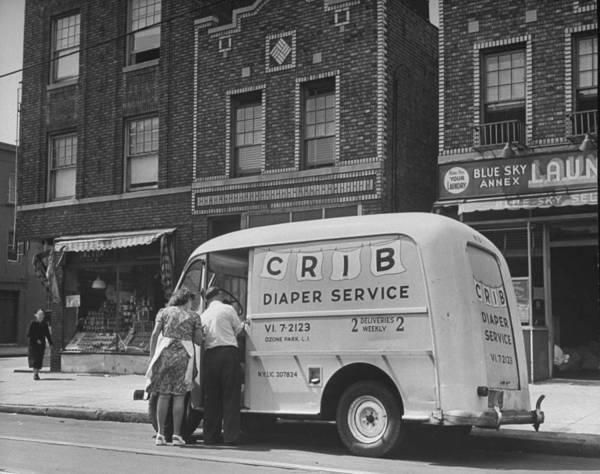 Merchandise Photograph - Vendor Providing Diaper Service.  Photo by Ed Clark