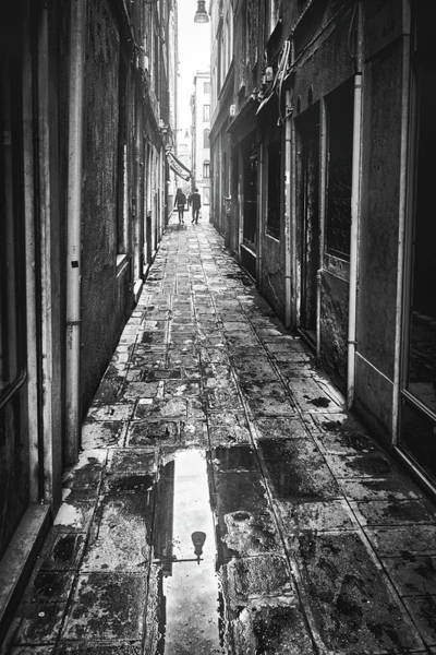 Photograph - Narrow Wet Alley In Venice, Italy - Black And White by Fine Art Photography Prints By Eduardo Accorinti
