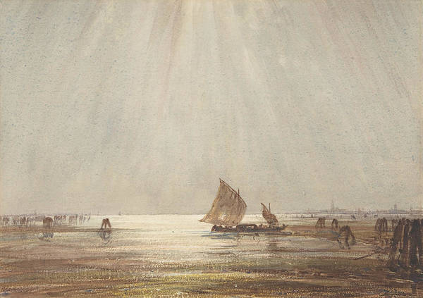 Wall Art - Drawing - Venetian Fishing Boat by Felix Ziem