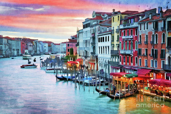 Wall Art - Painting - Venetian Sunset by Delphimages Photo Creations