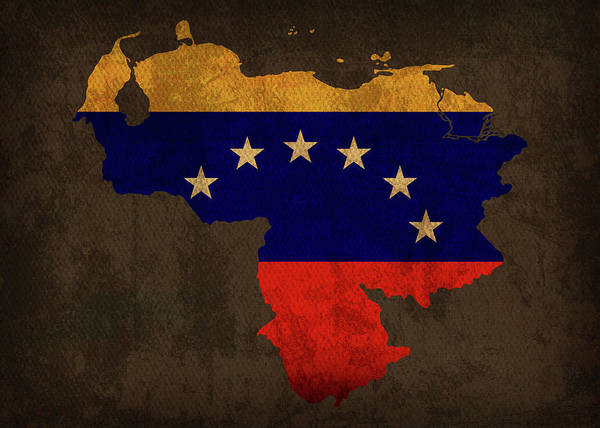 South America Mixed Media - Venezuela Country Flag Map by Design Turnpike