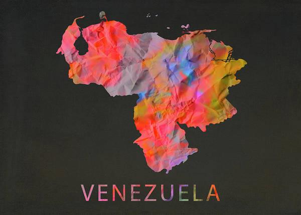 Wall Art - Mixed Media - Venezuela Tie Dye Country Map by Design Turnpike