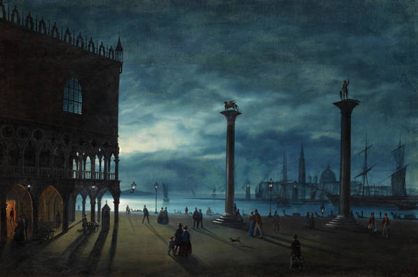 Nocturnal Wall Art - Painting - Venice, A Nocturnal View Of Piazza San Marco by Ippolito Caffi