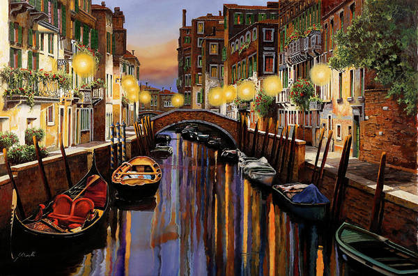 Canal Wall Art - Painting - Venice At Dusk by Guido Borelli