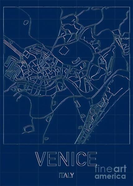 Digital Art - Venice Blueprint City Map by Helge
