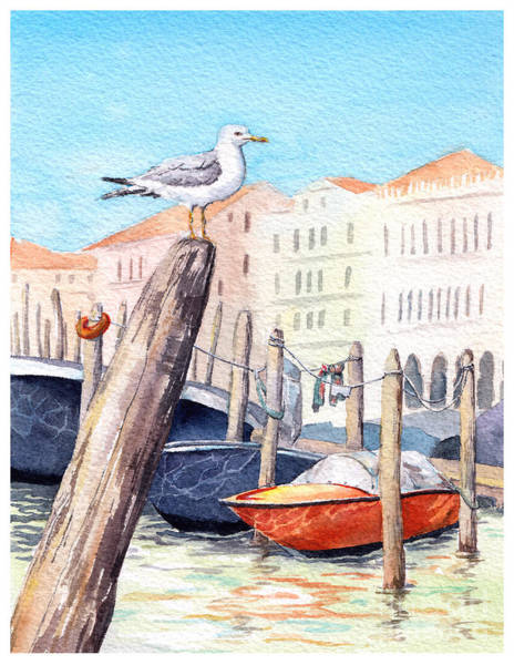 Venice - Boats, Water, Buildings And Art Print