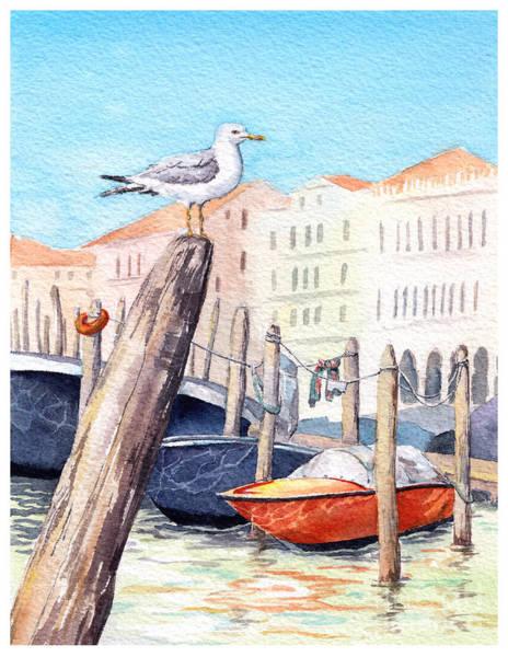 Panoramic Digital Art - Venice - Boats, Water, Buildings And by Le Panda