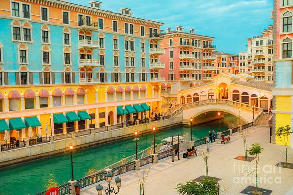 Photograph - Venice Bridge Doha Twilight by Benny Marty