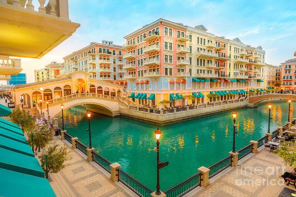 Photograph - Venice Bridges Doha Twilight by Benny Marty