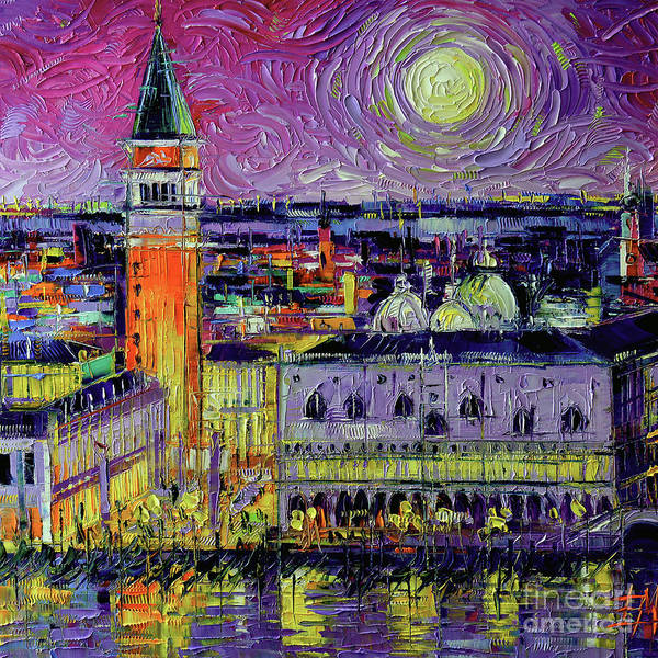 Wall Art - Painting - Venice By Moonlight Palette Knife Oil Painting Mona Edulesco by Mona Edulesco