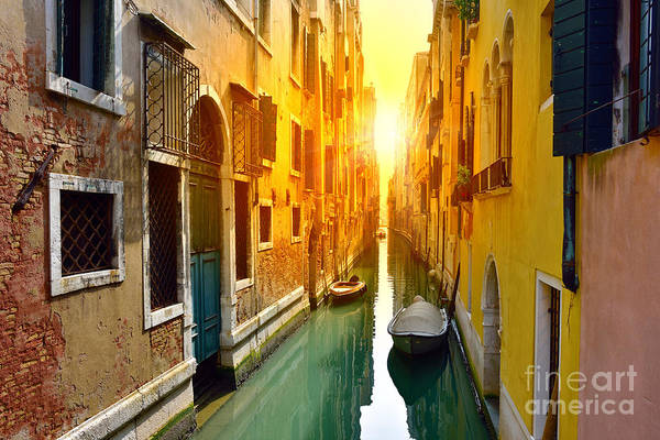 Exterior Wall Art - Photograph - Venice Canal At Sunrise. Tourists From by Oleg Znamenskiy
